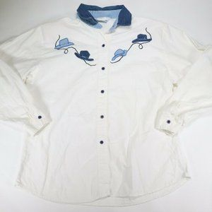 Roper Womens White Long Sleeve Button Down Western